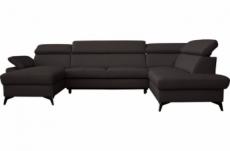 canapé d'angle convertible en cuir italien de luxe 7/8 places warini avec coffre, noir, angle droit