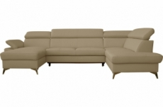 canapé d'angle convertible en cuir italien de luxe 7/8 places warini avec coffre, beige, angle droit