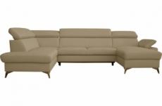 - canapé d'angle convertible en cuir italien de luxe 7/8 places warini avec coffre, beige, angle gauche