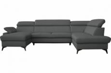 canapé d'angle convertible en cuir italien de luxe 7/8 places warini avec coffre, gris foncé, angle droit