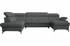 canapé d'angle convertible en cuir italien de luxe 7/8 places warini avec coffre, gris foncé, angle gauche