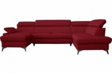 canapé d'angle convertible en cuir italien de luxe 7/8 places warini avec coffre, beavec coffre, rouge foncé, angle droitige, angle droit