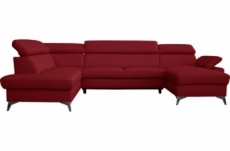 canapé d'angle convertible en cuir italien de luxe 7/8 places warini avec coffre, rouge foncé, angle gauche
