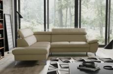 - canapé d'angle convertible en cuir italien de luxe 5/6 places warren ii, avec coffre, beige, angle gauche