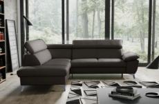 - canapé d'angle convertible en cuir italien de luxe 5/6 places warren ii, avec coffre, chocolat, angle gauche