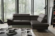 canapé d'angle convertible en cuir italien de luxe 5 places warren ii, avec coffre, chocolat, angle droit