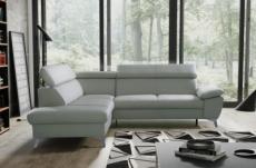 canapé d'angle convertible en cuir italien de luxe 5/6 places warren ii, avec coffre, gris clair, angle gauche
