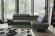 canapé d'angle convertible en cuir italien de luxe 5 places warren ii, avec coffre, gris foncé, angle droit