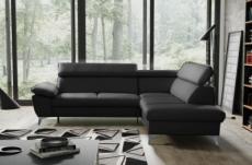 canapé d'angle convertible en cuir italien de luxe 5 places warren ii, avec coffre, noir, angle droit