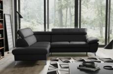 canapé d'angle convertible en cuir italien de luxe 5/6 places warren ii, avec coffre, noir, angle gauche