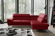 canapé d'angle convertible en cuir italien de luxe 5 places warren ii, avec coffre, rouge foncé, angle droit