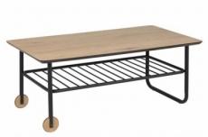 table basse whitney, feuille de chêne sauvage, base en métal