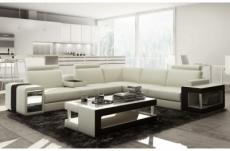 canapé d'angle en cuir luxe italien 5/6 places xerus, cuir haut de gamme italien vachette. cuir prestige luxe. blanc et noir, angle droit