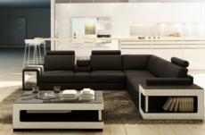 canapé d'angle en cuir luxe italien 5/6 places xerus, cuir haut de gamme italien vachette. cuir prestige luxe. noir et blanc, angle droit