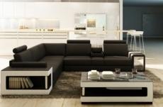 canapé d'angle en cuir luxe italien 5/6 places xerus, cuir haut de gamme italien vachette. cuir prestige luxe. noir et blanc, angle gauche