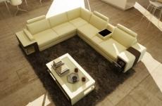 canapé d'angle en cuir luxe italien 5/6 places xerus, cuir haut de gamme italien vachette. cuir prestige luxe. ecru et chocolat, angle gauche