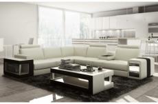 canapé d'angle en cuir luxe italien 5/6 places xerus, cuir haut de gamme italien vachette. cuir prestige luxe. blanc et noir, angle gauche