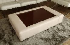 table basse en cuir italien zana, écru