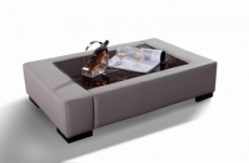 table basse personalisé en cuir italien zana, gris clair  ref 4c095