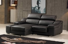 canapé d'angle en cuir buffle italien de luxe zendo,  chocolat, angle gauche