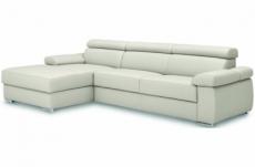- canapé d'angle convertible en 100% tout cuir italien de luxe 5 places zola, blanc cassé, angle gauche