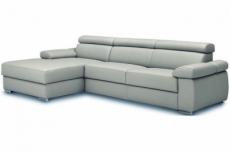 canapé d'angle convertible en 100% tout cuir italien de luxe 5 places zola, gris clair, angle gauche