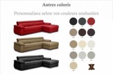 canapé d'angle convertible en 100% tout cuir italien de luxe 5 places zola, couleur personnalisée, angle droir