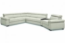 canapé d'angle convertible en 100% tout cuir italien de luxe 6/7 places zook, blanc cassé, angle gauche