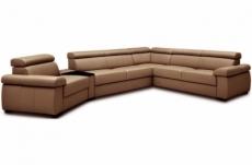 canapé d'angle convertible en 100% tout cuir italien de luxe 6/7 places zook, marron, angle droit