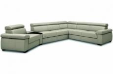 canapé d'angle convertible en 100% tout cuir italien de luxe 6/7 places zook, gris clair, angle droit