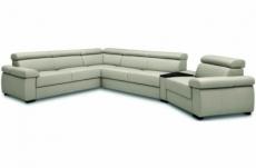 canapé d'angle convertible en 100% tout cuir italien de luxe 6/7 places zook, gris clair, angle gauche