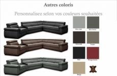 canapé d'angle convertible en 100% tout cuir italien de luxe 6/7 places zook, couleur personnalisée, angle droit