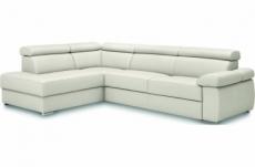 - canapé d'angle convertible en 100% tout cuir italien de luxe 5 places zorini, blanc cassé, angle gauche