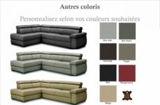canapé d'angle convertible en 100% tout cuir italien de luxe 5 places zorini, couleur personnalisée, angle gauche