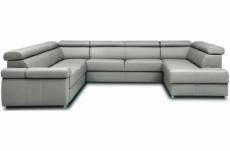 canapé d'angle convertible en 100% tout cuir italien de luxe 7/8 places zoxane, gris clair, angle gauche