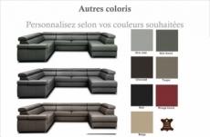 canapé d'angle convertible en 100% tout cuir italien de luxe 7/8 places zoxane, couleur personnalisée, angle gauche