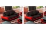 ensemble de 2 canapé 2 places en cuir italien vachette candide noir et rouge
