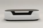 table basse design, plateau de verre foncé, alesia, blanc