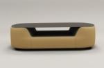 table basse design, plateau de verre foncé, alesia, beige