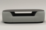 table basse design, plateau de verre foncé, alesia, gris clair