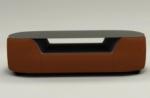 table basse design, plateau de verre foncé, alesia, marron