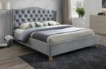 lit double en tissu velours de qualité asma, gris, avec sommier à lattes, 160x200