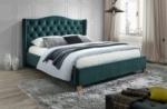 lit double en tissu velours de qualité asma, vert, avec sommier à lattes, 160x200