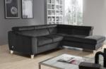 canapé d'angle convertible en tissu luxe 5 places, asteria gris foncé, angle droit