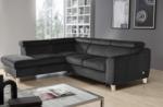 canapé d'angle convertible en tissu luxe 5 places, asteria gris foncé, angle gauche