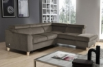 canapé d'angle convertible en tissu luxe 5 places, asteria taupe, angle droit