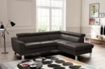 canapé d'angle en cuir italien de luxe 5 places astero, chocolat , angle droit