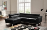 - canapé d'angle en cuir italien de luxe 5 places astero, noir, angle gauche
