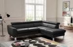 canapé d'angle en cuir italien de luxe 5 places astero, noir, angle droit