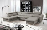 canapé d'angle convertible en cuir italien de luxe 7/8 places aston, gris clair, angle gauche